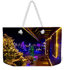 Christmas Fantasy Trees And Wooden House In Lights Weekender Tote Bag