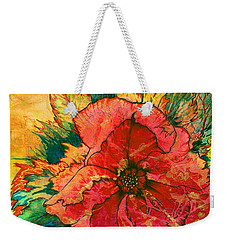 Christmas Flower Weekender Tote Bag by Nancy Cupp