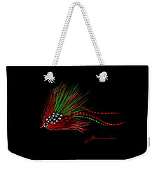 Weekender Tote Bag featuring the painting Christmas Fly by Jean Pacheco Ravinski
