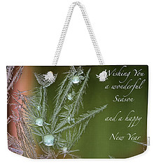 Weekender Tote Bag featuring the mixed media Christmas Greeting Card Ice Flowers by Peter v Quenter