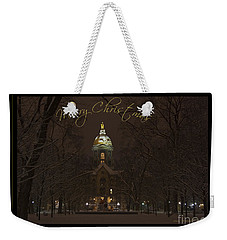 Christmas Greeting Card Notre Dame Golden Dome In Night Sky And Snow Weekender Tote Bag