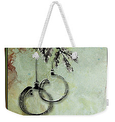 Weekender Tote Bag featuring the painting Christmas Greeting Card With Ink Brush Drawing by Peter v Quenter
