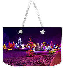 Christmas Lights In Town Park - Fantasy Colors Weekender Tote Bag by Brch Photography