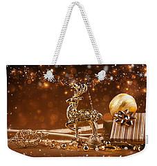 Christmas Reindeer In Gold Weekender Tote Bag