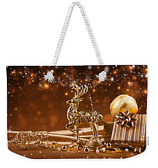 Christmas Reindeer In Gold Weekender Tote Bag by Doc Braham