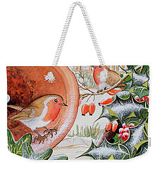 Christmas Robins Weekender Tote Bag by Tony Todd