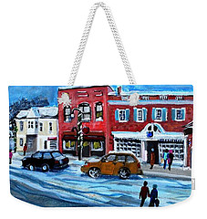 Christmas Shopping In Concord Center Weekender Tote Bag by Rita Brown