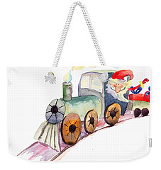 Christmas Train With Santa Claus Weekender Tote Bag