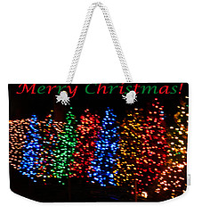 Weekender Tote Bag featuring the photograph Christmas Trees Dancing In The Night by Emmy Marie Vickers