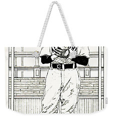 Weekender Tote Bag featuring the drawing Christy Mathewson by Ira Shander