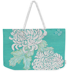 Weekender Tote Bag featuring the painting Chrysanthemums And Butterflies by Stephanie Grant