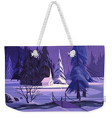 Weekender Tote Bag featuring the painting Church In Snow by Michael Humphries