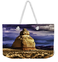 Weekender Tote Bag featuring the painting Church Rock  by Muhie Kanawati