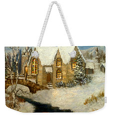 Church Snow Paintings Weekender Tote Bag