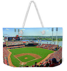 Cincinnati Reds Stadium Weekender Tote Bag by Kathy Barney