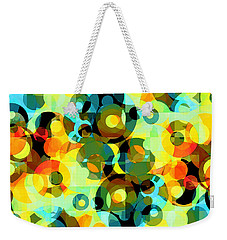 Weekender Tote Bag featuring the digital art Circles Squared 2 by Shawna Rowe