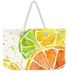 Citrus Fruit Watercolor Weekender Tote Bag by Olga Shvartsur