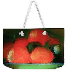Weekender Tote Bag featuring the painting Citrus In Pottery Bowl by Lisa Kaiser
