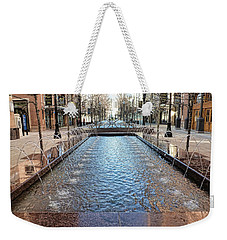 Weekender Tote Bag featuring the photograph City Creek Fountain - 1 by Ely Arsha