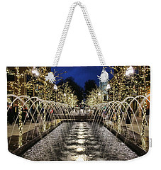 Weekender Tote Bag featuring the photograph City Creek Fountain - 2 by Ely Arsha