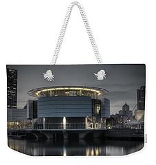 Weekender Tote Bag featuring the photograph City Glare by Deborah Klubertanz