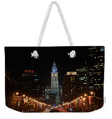 City Hall At Night Weekender Tote Bag by Jennifer Ancker