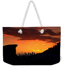 Weekender Tote Bag featuring the photograph City In A Palm Of Rock by Miroslava Jurcik