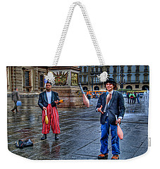 Weekender Tote Bag featuring the photograph City Jugglers by Ron Shoshani