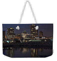 Weekender Tote Bag featuring the photograph City Reflection by Deborah Klubertanz