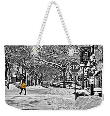 City Snowstorm Weekender Tote Bag