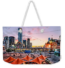 Weekender Tote Bag featuring the photograph City Sunset by Ray Warren
