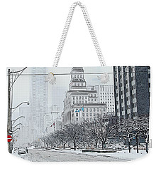 City In Winter Weekender Tote Bag by Yvonne Wright