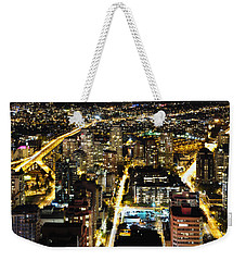 Weekender Tote Bag featuring the photograph Cityscape Golden Burrard Bridge Mdlxiv by Amyn Nasser