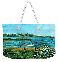 Clam Diggers At Menauhant Beach Weekender Tote Bag by Rita Brown