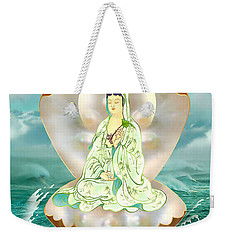 Weekender Tote Bag featuring the photograph Clam-sitting Kuan Yin by Lanjee Chee