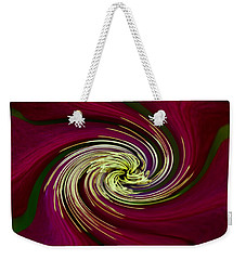 Weekender Tote Bag featuring the photograph Claret Red Swirl Clematis by Debbie Oppermann