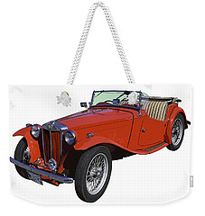 Classic Red Mg Tc Convertible British Sports Car Weekender Tote Bag by Keith Webber Jr