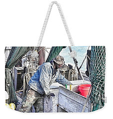 Weekender Tote Bag featuring the photograph Cleaning Up After The Haul by Patricia Greer