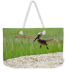 Weekender Tote Bag featuring the photograph Clear For Landing by Steven Santamour