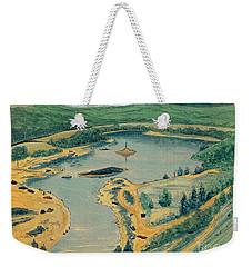 Weekender Tote Bag featuring the painting Clearwater Lake Early Days by Kip DeVore