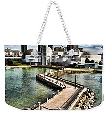 Weekender Tote Bag featuring the photograph Cleveland Inner Harbor - Cleveland Ohio - 1 by Mark Madere
