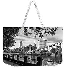 Cleveland River Cityscape Weekender Tote Bag by Dale Kincaid