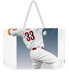 Weekender Tote Bag featuring the digital art Cliff Lee by Scott Weigner