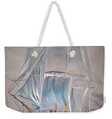 Weekender Tote Bag featuring the mixed media Clipper In Mist by Peter Suhocke