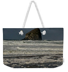 Weekender Tote Bag featuring the photograph Close Haystack Rock by Susan Garren