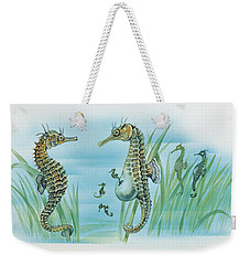 Close-up Of A Male Sea Horse Expelling Young Sea Horses Weekender Tote Bag by English School