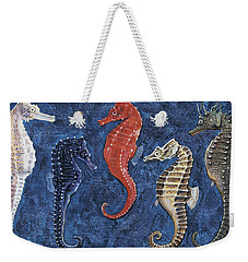 Close-up Of Five Seahorses Side By Side  Weekender Tote Bag by English School
