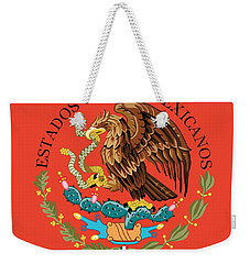 Close Up Of The Seal Within The Mexican National Flag Weekender Tote Bag