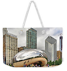 Weekender Tote Bag featuring the photograph Cloud Gate In Chicago by Mitchell R Grosky