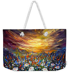 Weekender Tote Bag featuring the painting Cloudy Sunset In Valley by Lilia D